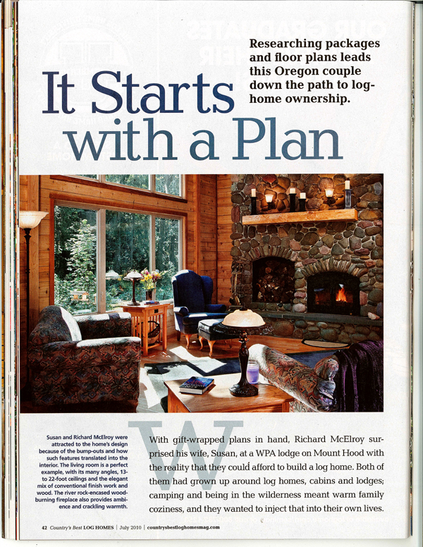 We re in log homes magazine olson jones 39 s remodel pdx for Log homes magazine